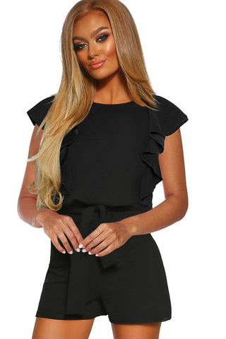 New Black O Neck  Short Sleeve Romper
