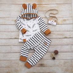 Newborn Baby Boy Hooded Feather T shirt Tops