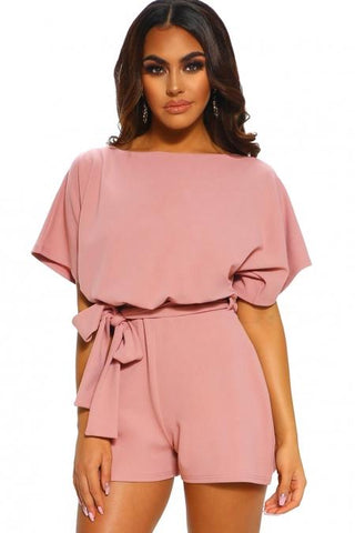 Pink Short Sleeve Over The Top Belted Playsuit