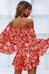 Red Off Shoulder Floral Romper