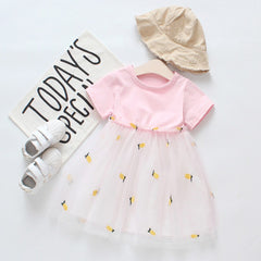 Summer Dress for Toddler Kids Girls Short Sleeve