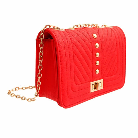 Red Quilted Chevron Crossbody