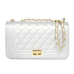 Silver Rectangle Quilted Crossbody