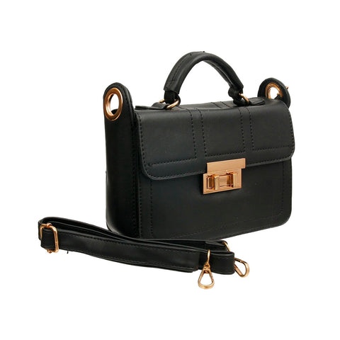 Black Leather Square Crossbody