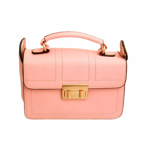 Pink Leather Square Crossbody