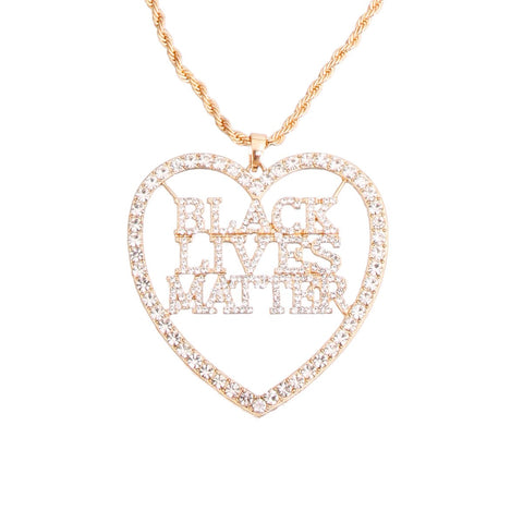 BLACK LIVES MATTER Heart Gold Necklace