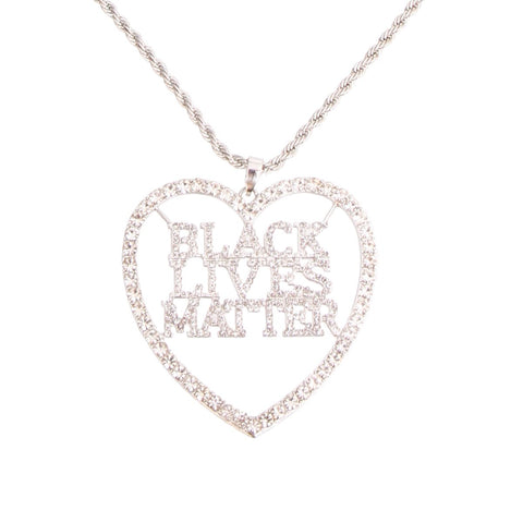 BLACK LIVES MATTER Heart Silver Necklace