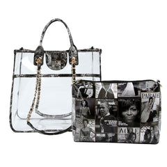 Black and White Obama Clear Tote Bag Set