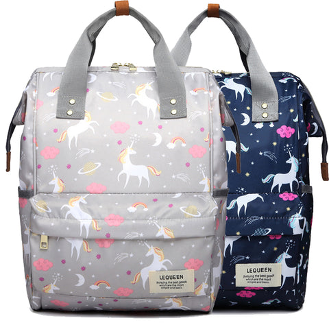 Wide Open Designed Baby Diaper Backpacks Changing Bags Unicorn Print