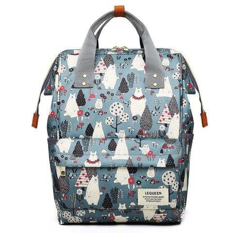 Wide Open Designed Baby Diaper Backpacks Changing Bags Bear Print