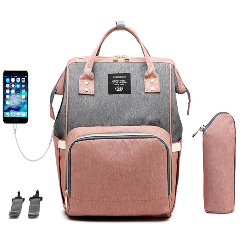 Fashion Diaper Bag Backpack with USB Charger Port & Insulated Bottle Keeper & Stroller Straps