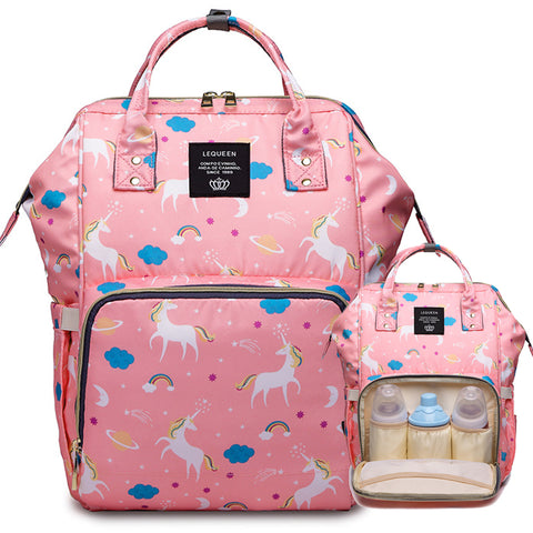 Unicorn Baby Backpack Diaper Bag for Mom with 3 Insulated Pockets