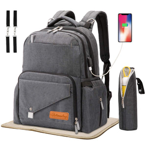 Dad Diaper Bag Backpack Large Capacity with USB Charger Port & Bottle Keeper