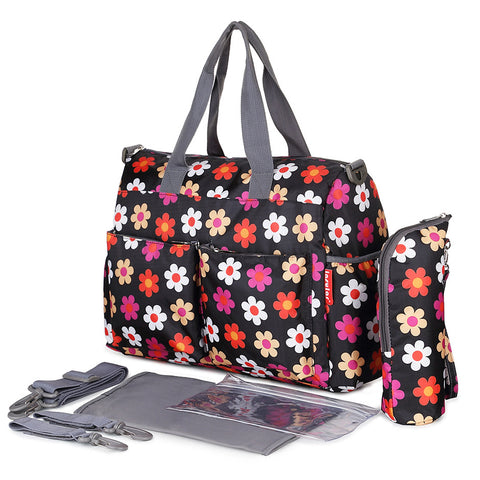 Floral Print Diaper Tote Bags for Baby Large Capacity