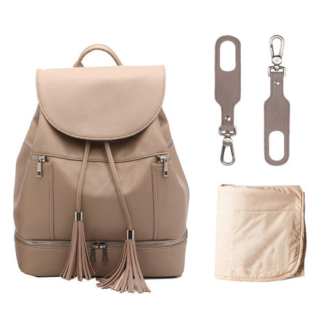Popular Leather Mom Diaper Backpack Nappy Bags with Changing Pad & Stroller Straps