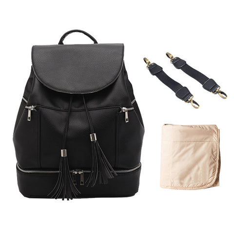 Popular Leather Mom Diaper Backpack Nappy Bags Black with Changing Pad & Stroller Straps