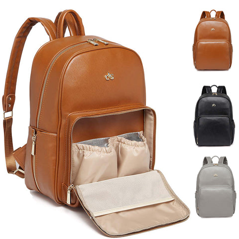 Brown Leather Diaper Backpack Bags with Stroller Straps & Insulated Bottle Pockets