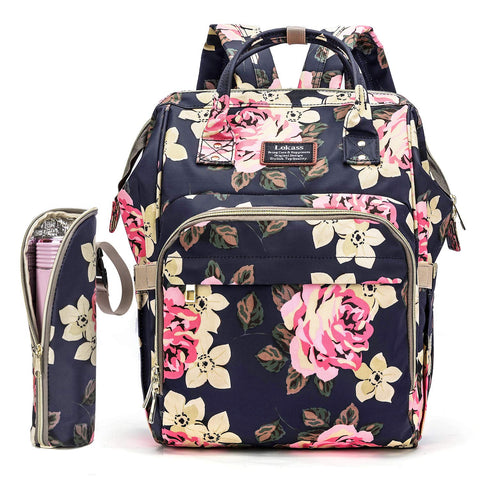 Stylish Baby Diaper Bag Backpack Nappy Bags for Mom with Bottle Keeper Floral