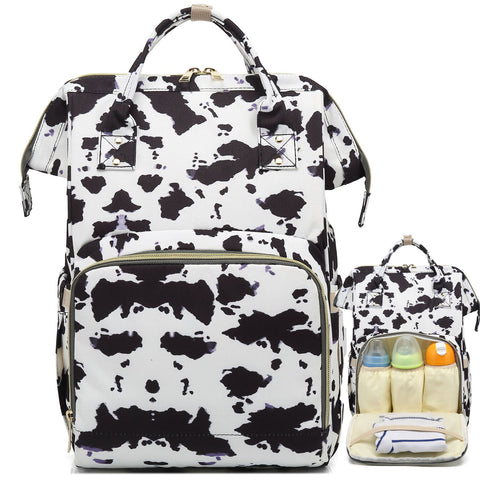 Cow Print Diaper Bag Backpacks with Attachable Stroller Buckles for Boys & Girls