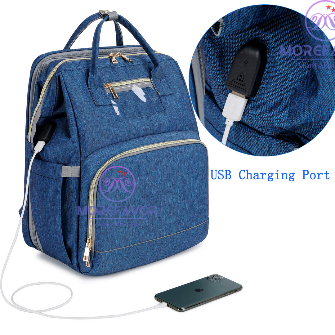 Expanding Diaper Bag Backpack For Baby With Usb Charging Port Changing Table Morefavor Com