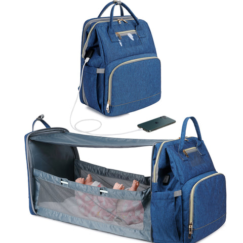 Expanding Diaper Bag Backpack For Baby with USB Charging Port & Changing Table