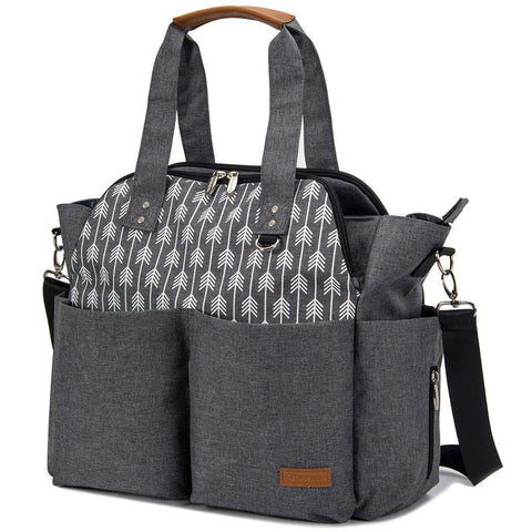 Diaper Bag Tote Purse Satchel Diaper Messenger for Mom and Girls Grey