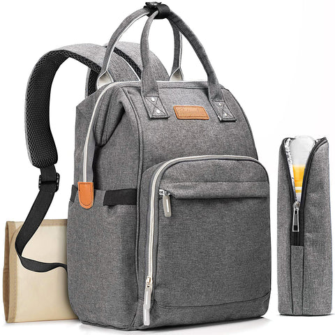 Gray Diaper Bag Backpack with Changing Pad For Baby
