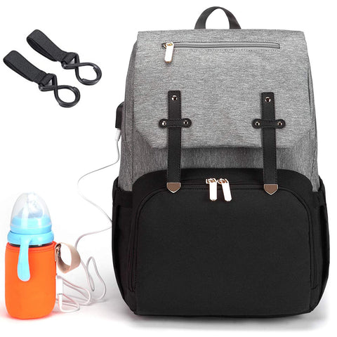 Baby Diaper Bag Backpack with USB Bottle Warmer Changing Bags