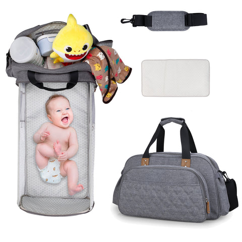 Portable Bassinet Diaper Bag with Changing Pad, Infant Baby Travel Bed