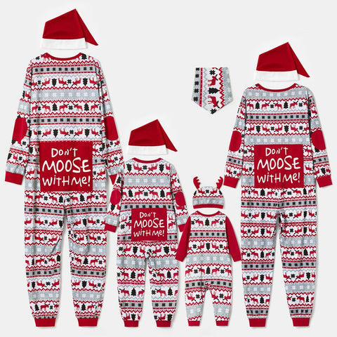 Family Matching Christmas Pajamas Stripe Letter