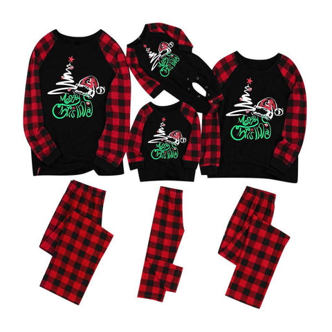 Matching Family Two Pieces Union Pajamas for Christmas Red Plaid Letter