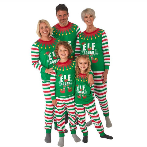 Christmas Matching Family Two Pieces Union Pajamas Letter Printed Green Stripes