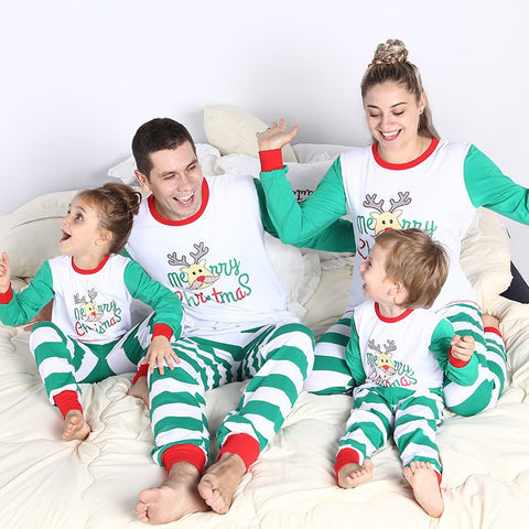 Green Stripes Matching Family Christmas Pajamas for Holiday Two Pieces