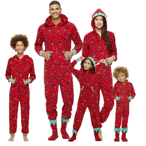 Matching Family Christmas Pajamas Onesie One-piece Pjs Sets Red Printed with Hood