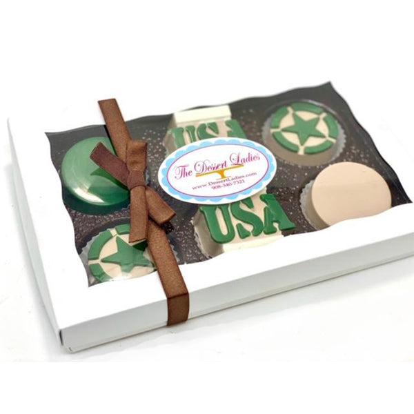 Camo Army Chocolate Covered Oreos - The Dessert Ladies, custom corporate gifts, gourmet chocolate gifts,