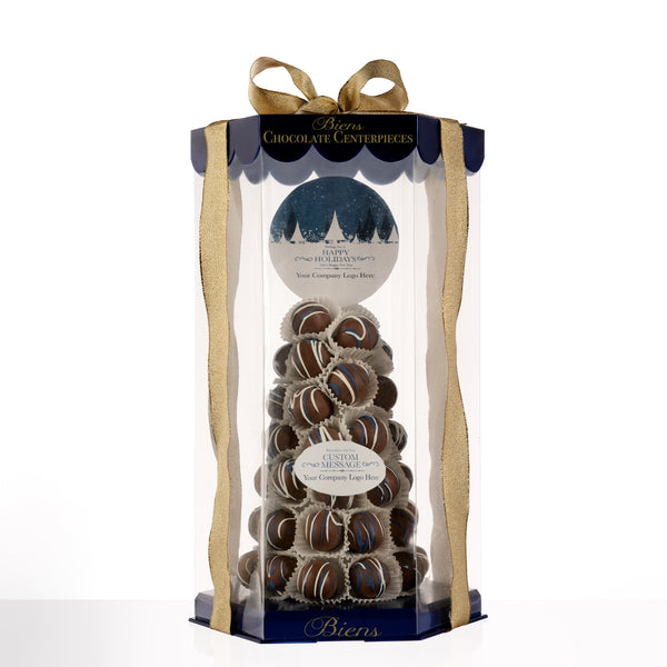 Holiday Bien Tower- Presidential Blue - The Dessert Ladies, custom corporate gifts, gourmet chocolate gifts,