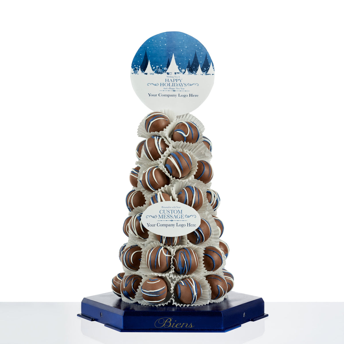 Corporate Bien Tower- Presidential Blue - The Dessert Ladies, custom corporate gifts, gourmet chocolate gifts,
