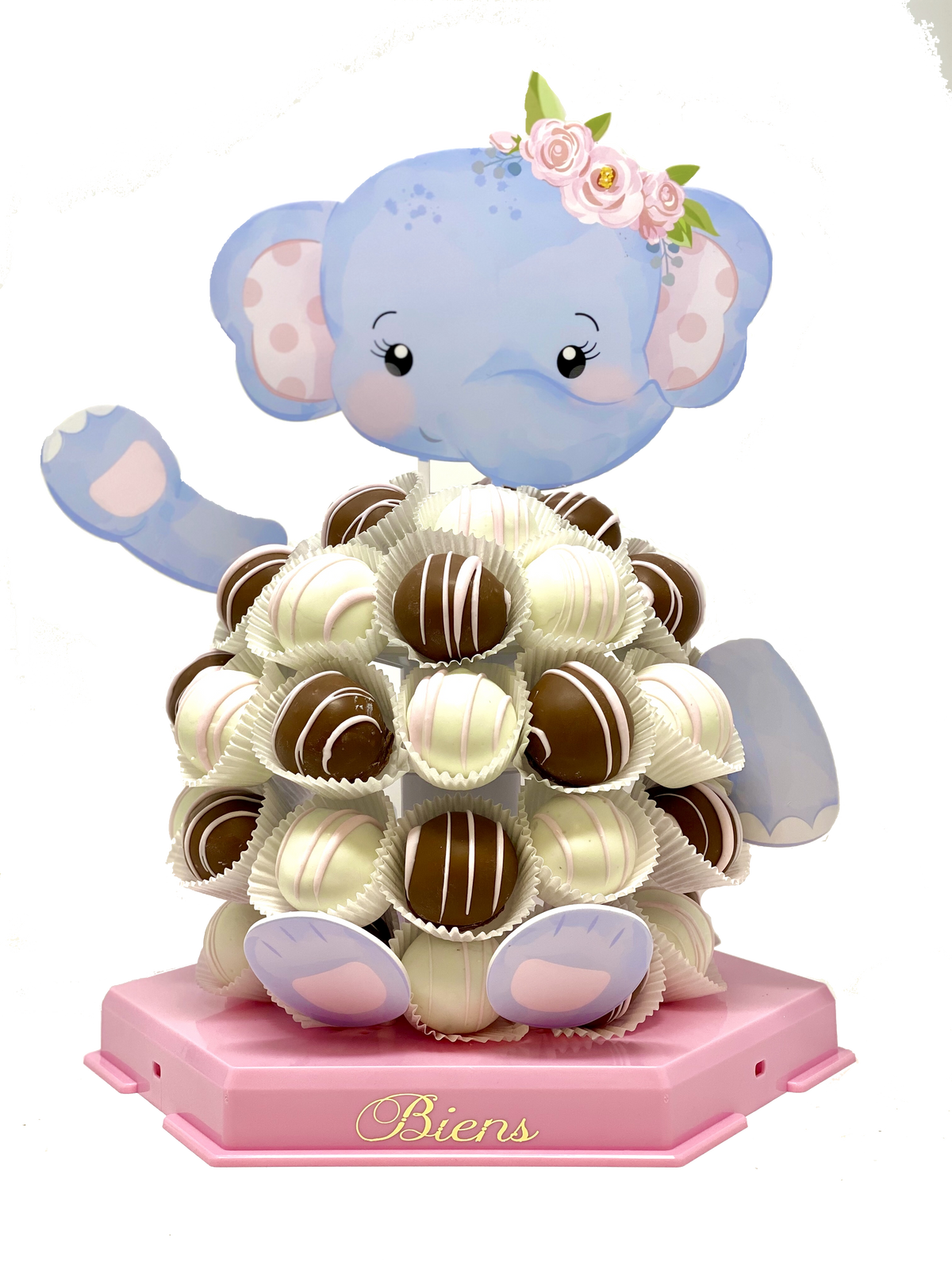 Ellie Tusk- The Elephant Biens Chocolate Centerpiece - The Dessert Ladies, custom corporate gifts, gourmet chocolate gifts,