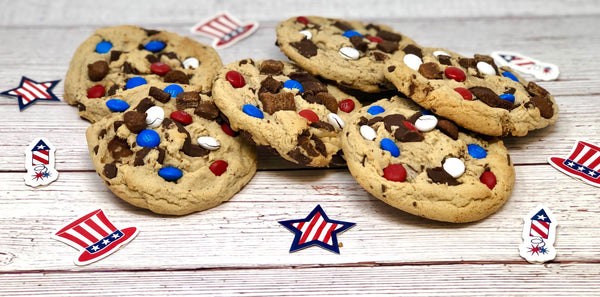 One Doz. Jumbo Chocolate Chip Cookie Patriotic Platter - The Dessert Ladies, custom corporate gifts, gourmet chocolate gifts,