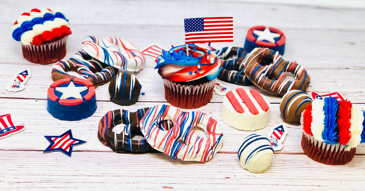 Patriotic Cupcakes - The Dessert Ladies, custom corporate gifts, gourmet chocolate gifts,