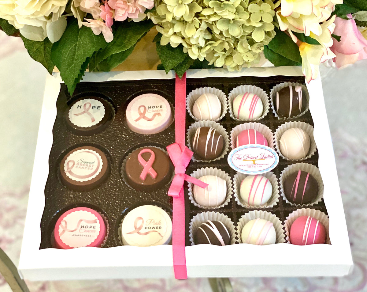 Mixed Bien and Oreo Gift Box- Breast Cancer Awareness Fundraiser - The Dessert Ladies, custom corporate gifts, gourmet chocolate gifts,