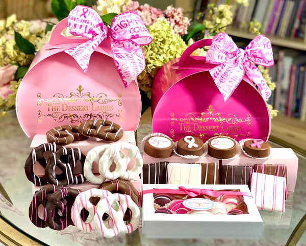 Breast Cancer Awareness Tulip Mixed Chocolate Box Fundraiser - The Dessert Ladies, custom corporate gifts, gourmet chocolate gifts,