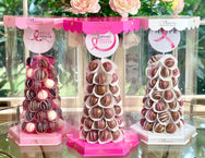 Biens Chocolate Centerpieces Gift Tower- Breast Cancer Awareness Fundraiser - The Dessert Ladies, custom corporate gifts, gourmet chocolate gifts,