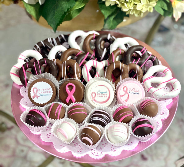 Large Mixed Chocolate Platter- Breast Cancer Awareness Fundraiser - The Dessert Ladies, custom corporate gifts, gourmet chocolate gifts,