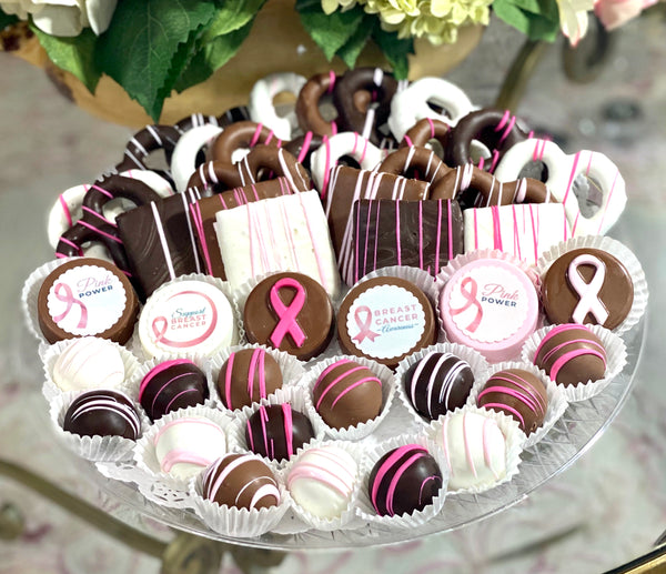 VIP Mixed Platter- Breast Cancer Awareness Fundraiser - The Dessert Ladies, custom corporate gifts, gourmet chocolate gifts,