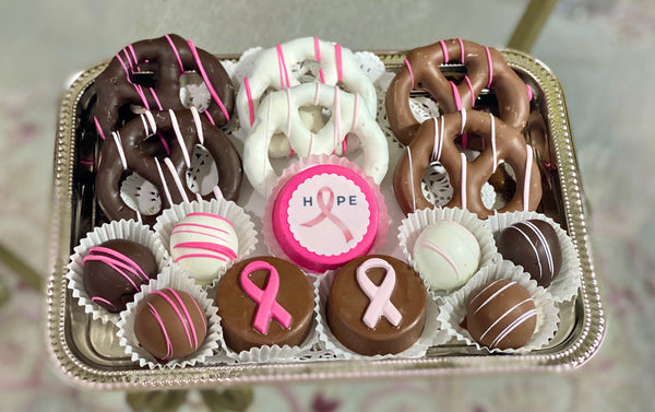 Small Mixed Chocolate Platter- Breast Cancer Awareness Fundraiser - The Dessert Ladies, custom corporate gifts, gourmet chocolate gifts,