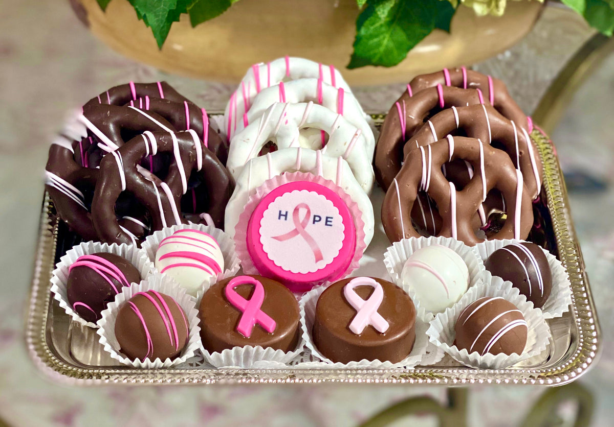 Medium Mixed Chocolate Platter- Breast Cancer Awareness Fundraiser - The Dessert Ladies, custom corporate gifts, gourmet chocolate gifts,