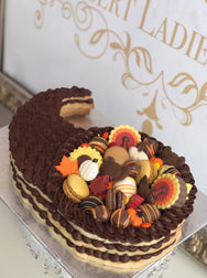 Thanksgiving Cornucopia Cookie Cake - The Dessert Ladies, custom corporate gifts, gourmet chocolate gifts,