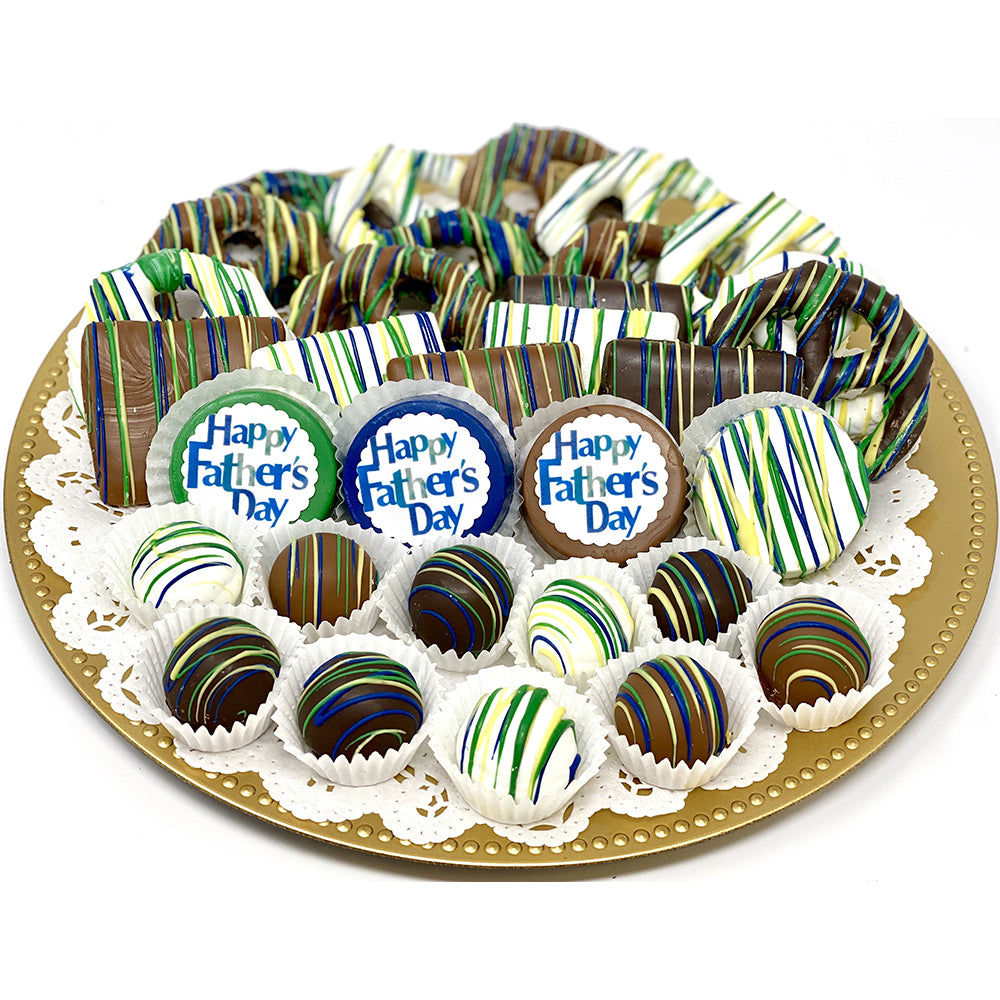 Large Father's Day Mixed Chocolate Platter - The Dessert Ladies, custom corporate gifts, gourmet chocolate gifts,