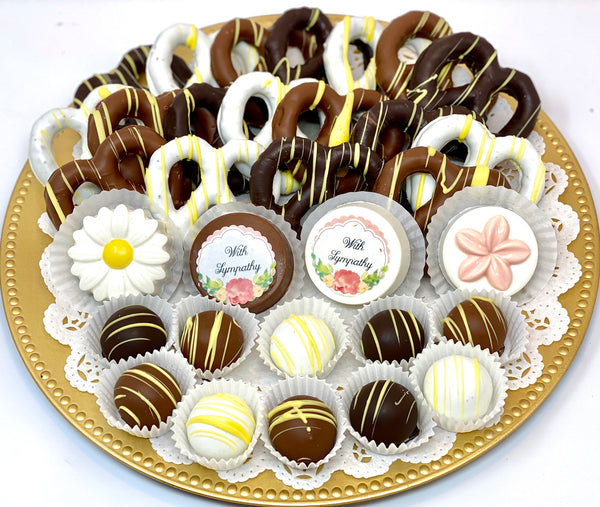 Large Mixed Sympathy Chocolate Platter - The Dessert Ladies, custom corporate gifts, gourmet chocolate gifts,